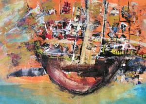 Marea en Naranja | Abraham Gustin | Obra s/tela. | Serie de los Barcos