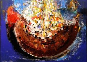 Navegando en el Color | Abraham Gustin | Obra s/tela. | Serie de los Barcos
