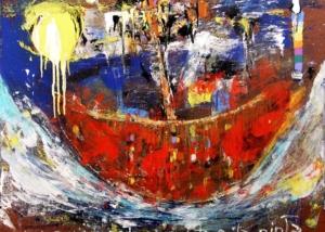 Aunque no lo creas esta es la pinta | Abraham Gustin | Obra s/tela. | Serie de los Barcos